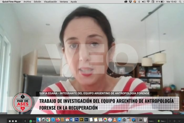 Sofia Egaña, integrante del EAAF, entrevistada en el programa Par de Ases.
